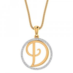 14K Yellow Gold Pendant In D Shape