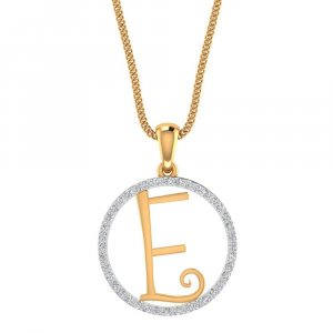 14k Yellow Gold Pendant In E Shape