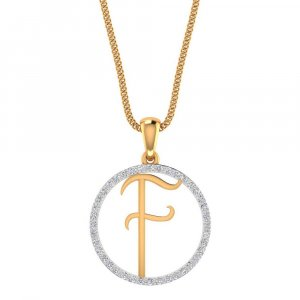 14K Yellow Gold Pendant In F Shape