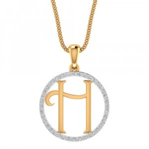14K Yellow Gold Pendant In H Shape