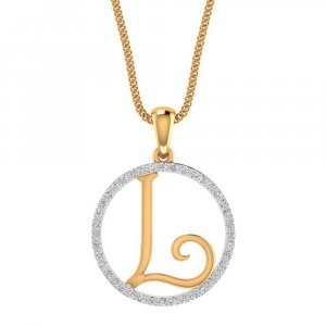 14K Yellow Gold Pendant In L shape