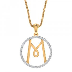 14K Yellow Gold Pendant in M Shape