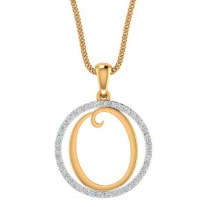 14K Yellow Gold Pendant In O Shape