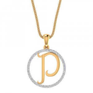 14K Yellow Gold Pendant In P Shape