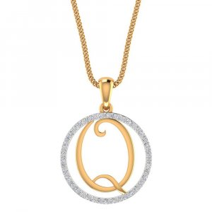 14K Yellow Gold Pendant In Q Shape