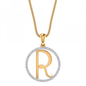 14K Yellow Gold Pendant In R Shape