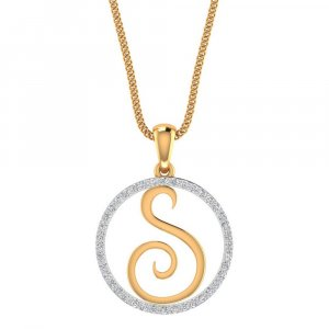 14K Yellow Gold Pendant In S Shape