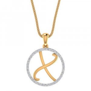 14K Yellow Gold Pendant In X Shape