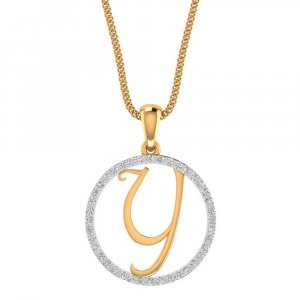 14K Yellow Gold Pendant In Y Shape