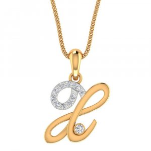 Handmade 14K Yellow Gold Pendant With 0.29CTS Certified Diamond