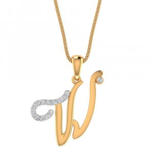 Hallmark 14K Yellow Gold Pendant In W Shape With Certified Diamond