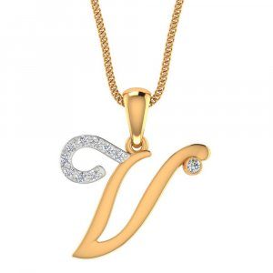 Hallmark 14K Yellow Gold Pendant In V Shape With Certified Diamond