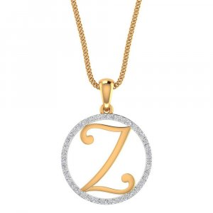 Hallmark 14K Yellow Gold Pendant In Z Shape With Certified Diamond