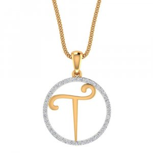 T Shape Pendant In 14K Yellow Gold With Certified Diamond