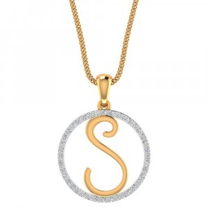 S Shape Pendant In 14K Yellow Gold With Certified Diamond