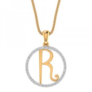 R Shape Pendant In 14K Yellow Gold With Certified Diamond