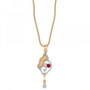 14K Yellow Gold Pendant With Gemstone And Certified Diamond