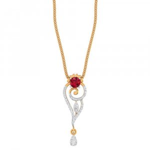 14K Yellow Gold Pendant With Natural Ruby Gemstone And Certified Diamond