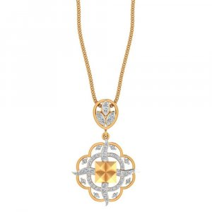 14K Yellow Gold Pendant With  0.5CTS  Certified Diamond