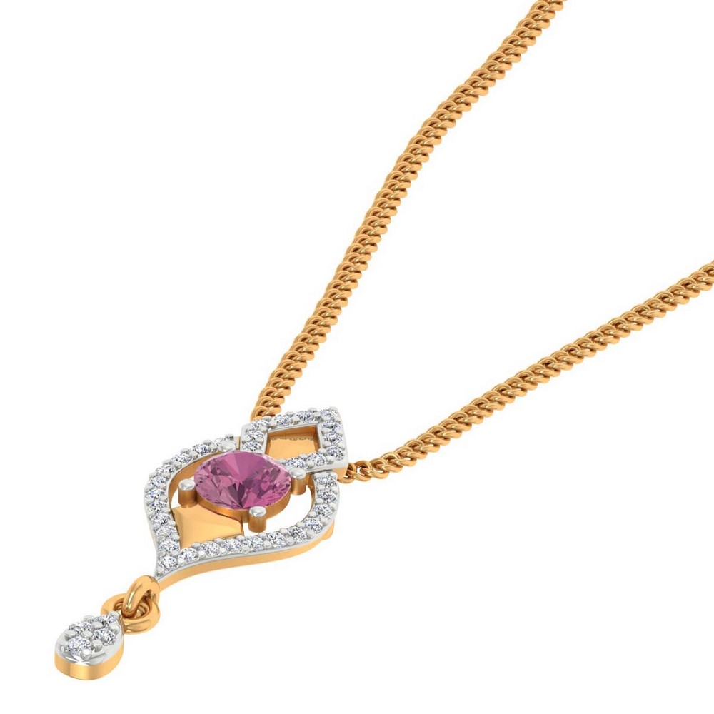 14K Yellow Gold Pendant With Natural Gemstone And Certified Diamond
