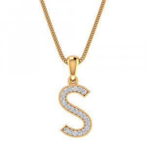 14K Yellow Gold Pendant In S Shape With 0.13CTS Certified Diamond
