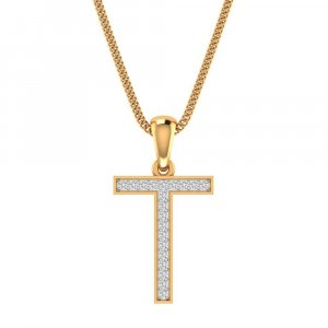 14K Yellow Gold Pendant In T Shape With 0.13CTS Certified Diamond