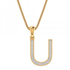 14K Yellow Gold Pendant In U Shape With 0.18CTS Certified Diamond