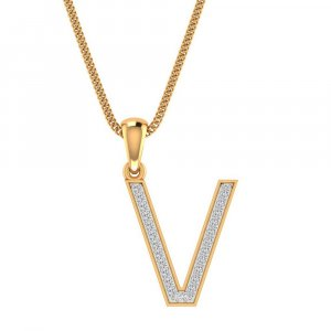 14K Yellow Gold Pendant In V Shape With 0.16CTS Certified Diamond