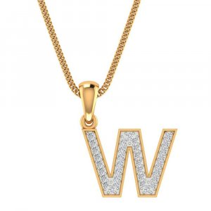 14K Yellow Gold Pendant In W Shape With 0.21CTS Certified Diamond