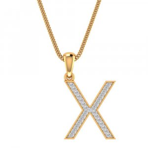 14K Yellow Gold Pendant In X Shape With 0.18CTS Certified Diamond