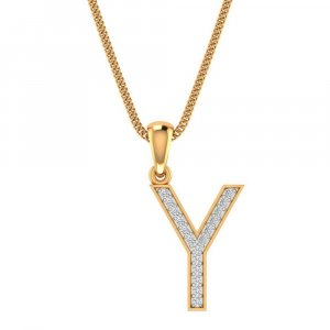 14K Yellow Gold Pendant In Y Shape With 0.11CTS Certified Diamond