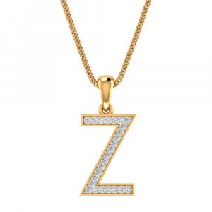 14K Yellow Gold Pendant In Z Shape With 0.16CTS Certified Diamond