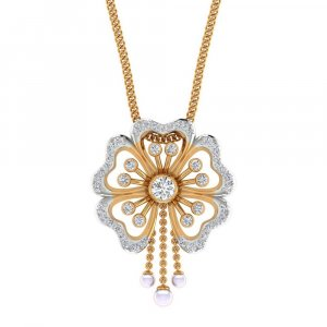 14K Yellow Gold Pendant in Flower Shape With 0.33CTS Certified Diamond