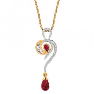 14K Yellow Gold Pendant With Natural Ruby Gemstone
