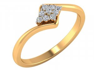 0.18 Cts 14k Yellow Gold Certified Diamond Ring