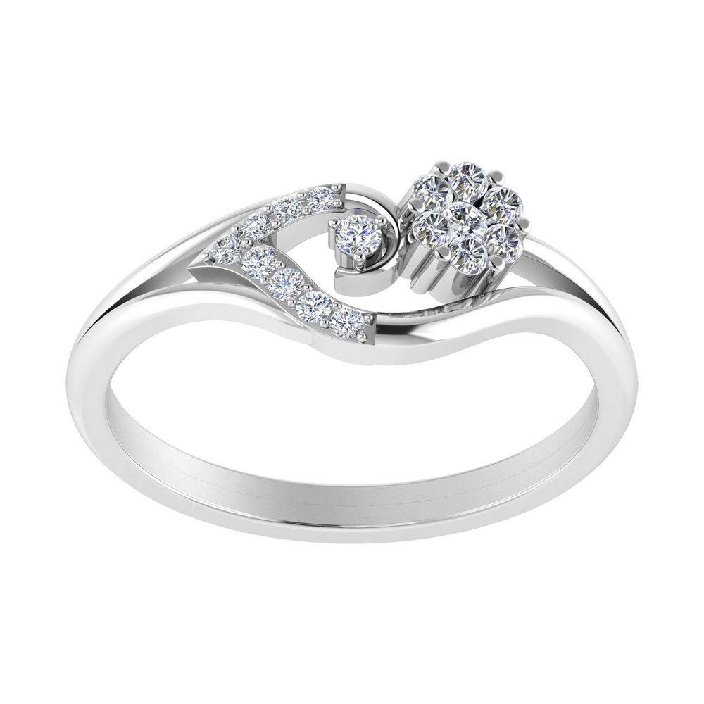 14k White Gold Certified Natural Diamond Ring