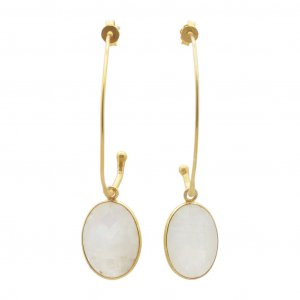White Moonstone Oval Gemstone Yellow Gold Plated Silver Drop Earrings Jewelry