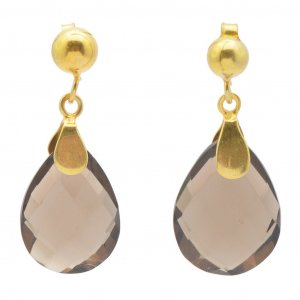 Smoky Quartz Pear Faceted Gemstone Gold Plated Silver Drop Earrings Gift Jewelry