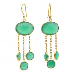 Green Onyx Gemstone yellow Gold Plated Silver Round Hook Drop Earrings Jewelry