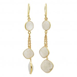 Moonstone Cabochon stone Gold Plated Silver Hanging Chain Drop Earrings Jewelry