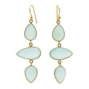 Faceted Blue Onyx Pear Gemstone Yellow Gold Plated Drop Dangle Earrings Jewelry