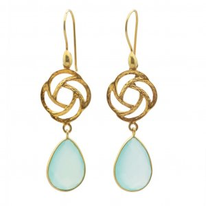 Blue Onyx Faceted Gemstone Flower Cut Gold Plated Drop Earrings Fashion Jewelry