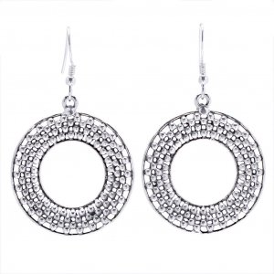 New Collection Oxidised Silver Hollow Design Round Hook Drop Dangle Earrings