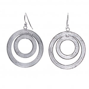 New Collection Brand New Double Circle Earrings Drop Hook Silver Jewelry Gift