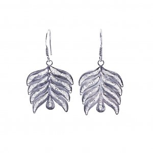 Antique Style Tribal Oxidised Silver Feather Hook Drop Earrings Fashion Jewelry