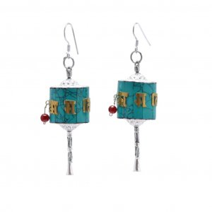 Religious Buddhist Prayer Wheel Style Silver Glass Drop Earrings Fashion Jewelry