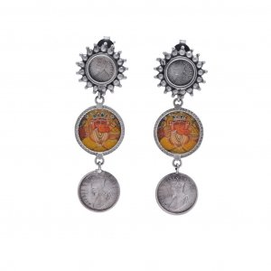 Tribal Oxidized Silver Religious Lord Ganesha British Coin Drop Earrings Jewelry