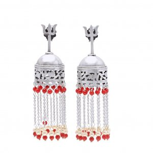Indian Holy Lord Shiva Trishul look Color Glass Beads Silver Chandelier Earrings