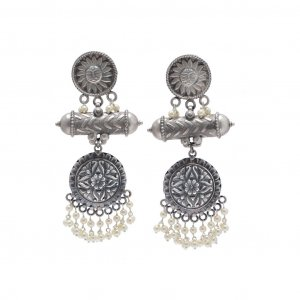 Oxidized Silver Glass Beads Tribal Floral Sun Design Antique Dangle Earrings