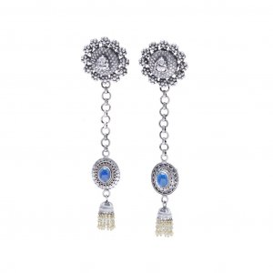 New Collection Oxidized Silver Lapis Stone Drop Dangle Earrings Women's Jewelry